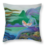 Mermaid With Oyster Throw Pillow