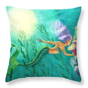 Mermaid's Garden Throw Pillow