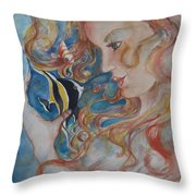Mermaids Kiss Throw Pillow