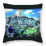 Mermaids Of Rovinj Throw Pillow