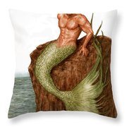 Merman On The Rocks Throw Pillow