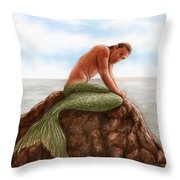 Merman Resting Throw Pillow