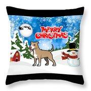Merry Christmas American Pitbull Terrier  Throw Pillow