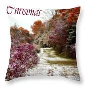 Merry Christmas Colours And Snow Throw Pillow