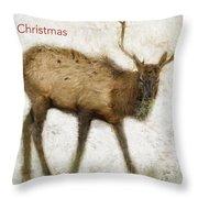 Merry Christmas Elk Greeting Card Throw Pillow