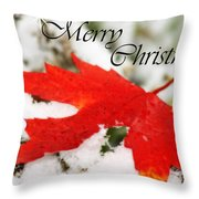 Merry Christmas Leaf Throw Pillow