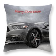 Merry Christmas Mustang S550 Throw Pillow