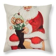 Merry Christmas Santa Pulls Doll From His Sack Vintage Card Throw Pillow