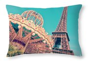 Merry Go Paris Throw Pillow