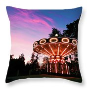 Merry - Go - Round At Sunset Throw Pillow