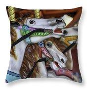 Merry Go Round Horses Throw Pillow