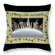 Merry Little Christmas Hill Throw Pillow