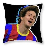 Messi 3498 By Nicholas Nixo Efthimiou Throw Pillow