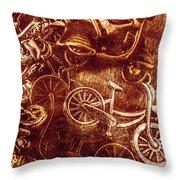 Messy Bike Workshop Throw Pillow