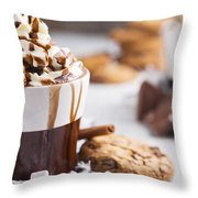 Messy Hot Chocolate, Cream And Marshmallows And A Choc-chip Cook Throw Pillow