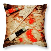 Messy Painters Palette Throw Pillow