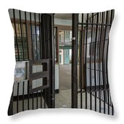 Metal Bars Leading Into Cellblock In Prison Throw Pillow