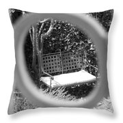 Metal Bench In Sedona Throw Pillow