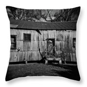 Metal Building On The Grounds At Fort Delaware Near Delaware City Throw Pillow