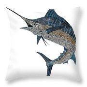 Metal Marlin Tribal Throw Pillow