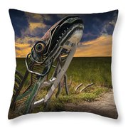Metal Monster Emerging From The Earth Throw Pillow