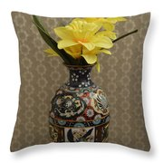 Metal Vase With Flowers Throw Pillow