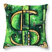 Metallic Gold Dollar Sign For The Love Of Money Mini Pop Art Painting Madart Throw Pillow