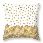 Metallic Gold Floral Flower Swirls Trendy Unique Art By Madart Throw Pillow