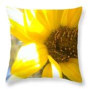 Metallic Green Bee In A Sunflower Throw Pillow