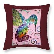 Metallic Hummingbird  Throw Pillow