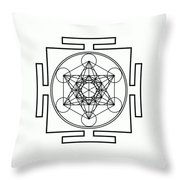 Metatron's Cube - Black Throw Pillow