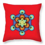 Metatron's Cube With Merkaba Throw Pillow