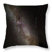 Meteor Burst Across The Milky Way Throw Pillow