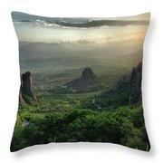 Meteora Greece Sunset Throw Pillow