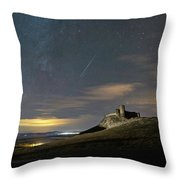 Meteors Above The Fortress Throw Pillow
