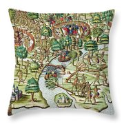 Methods Of Sieging And Attacking Throw Pillow by Theodore de Bry