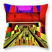 Metro 4, Budapest, Hungary, Poster Effect 1a Throw Pillow