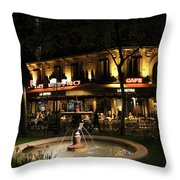 Metro Cafe Paris Throw Pillow