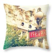 Metro Sign Paris Shabby Chic Throw Pillow