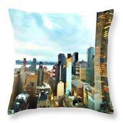 Metro Skyline Throw Pillow