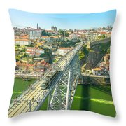Metro Train Over Porto Bridge Throw Pillow