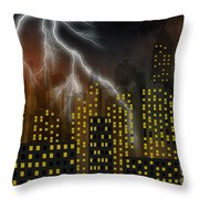 Metropolis At Stormy Night Throw Pillow