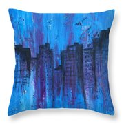 Metropolis In Blue Throw Pillow