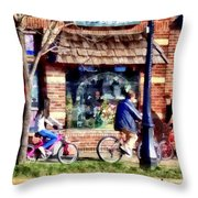 Metuchen Nj - Bicyclists On Main Street Throw Pillow