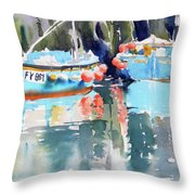 Mevagissey Harbour Throw Pillow