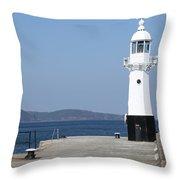 Mevagissey Lighthouse Throw Pillow