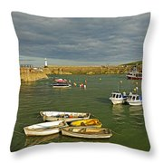 Mevagissey Outer Harbour Throw Pillow
