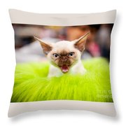 Mew Kitty Funny Mad Face Throw Pillow