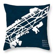 Mex Benito Juarez International Airport Silhouette In Blue Throw Pillow