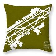 Mex Benito Juarez International Airport Silhouette In Olive Throw Pillow